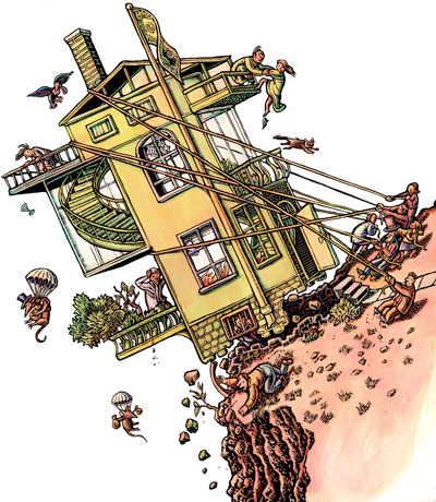 """Some expect mortgage problems to get worse, but could all this have been headed off by less greed?""  For this Fourth Quarter business section, they originally proposed an out-of-control raft (which would have made a good companion to the 3Q cover). But there was something about a dollar shaped house that piqued their interest. Both of these illustrations ran over half the section cover, which is a lot of real estate for art."