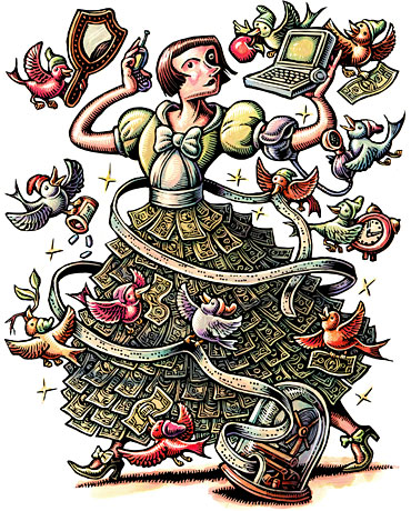 This was a juicy assignment! So many directions to go! With the economy in the dumps, this article gave tips on how to keep your finances in order (lots of tips on finding deals on the internet). I was delighted with their choice, though I was careful not to make the woman too 'Disneyesque'... don't want to risk lawsuits, after all. And, I love drawing bunches of dollars. Mmmm, dollars.
