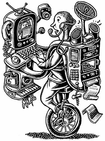 """TV-Pcs, Web-Access Phones and other amalgams show that the whole can be less than the sum of its parts."" I must say, I love gizmo drawings, so I went to town on this one. I especially like the coffee-making feature..."