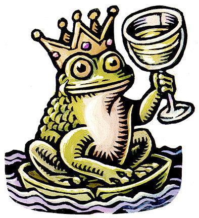 (Frog Prince with nice glass of wine)