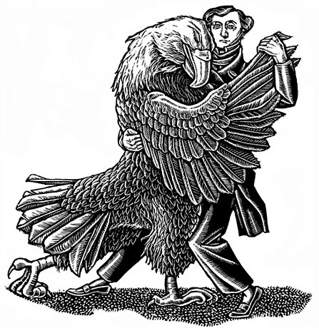 "The Common Review ran a large section of Joseph Epstein's ""French Ambition and the Making of Democracy"". I'd never read de Tocqueville, so I enjoyed this one.  In the illustration, I wanted to convey the ambiguity he felt about the United States, (and democracy), even as his host nation embraced him.  The dissected eagle was the cover, but I prefer this simple illustration, which ran in the interior in black and white."